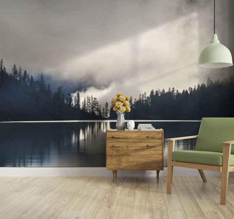 TenStickers. Drveće i odsjaji na zidnim slikama s vode. Vrlo moderan i opuštajući mural za dnevni boravak. Savršeno za ukrašavanje svugdje kod kuće i u uredu. Uz kućnu dostavu! Odaberite svoju veličinu.