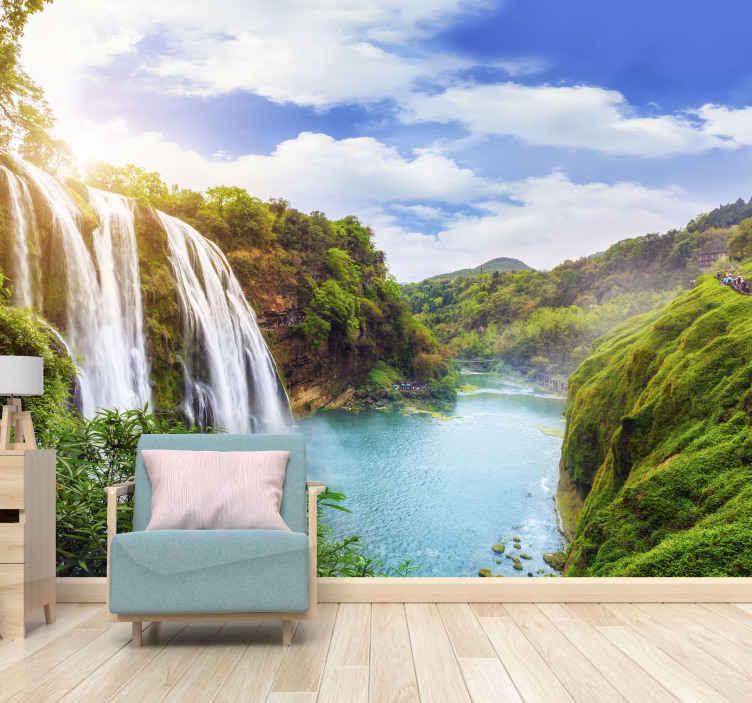 Tenstickers. Vodopád a horský vodopád nástenná maľba. Veľmi úžasná a elegantná krajina nástenná tapeta vodopád a hory. Kúp online! Donáška domov! Vyrobené z anti bublinových vinylov!
