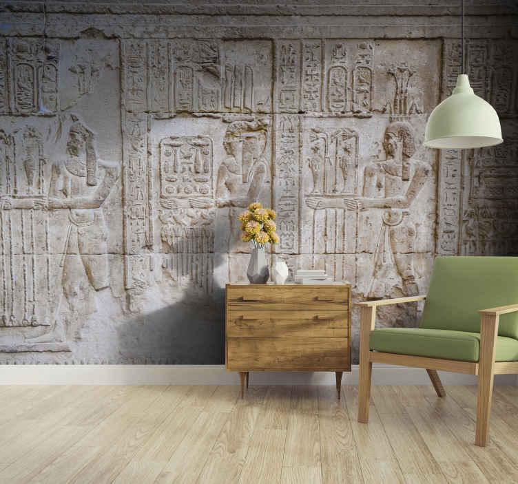 TenStickers. Egyptské postavy obývací pokoj nástěnná malba. Tato cihlová fototapeta je egyptský text a figuruje po celé ploše jako cihla. Ideální pro egyptské fanoušky! Dodávka domů k dispozici.
