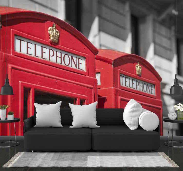 Tenstickers. Telefónna búdka londýnske mesto fototapeta. Pozrite sa na túto jedinečnú nástennú maľbu mesta a do veľkej miery pozrite sa na slávne červené londýnske telefónne automaty z londýna. Musí kúpiť!