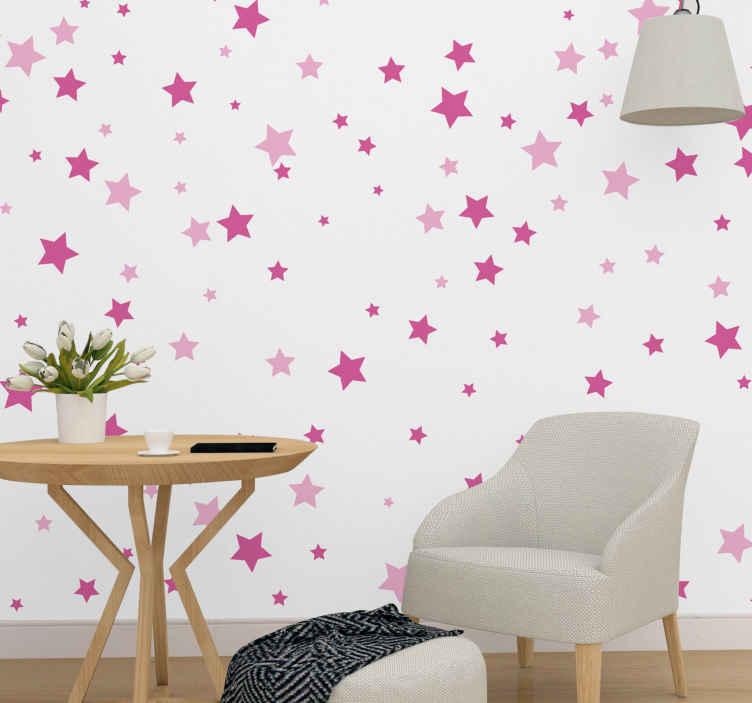 TenStickers. Ružičaste zvijezde padajuće zidne zidove vrtić. Ovu slatku fotomuralnu s ružičastim zvijezdama različitih veličina možete pronaći na našoj web stranici. Izrađuje se u Španjolskoj s visokokvalitetnim proizvodima.