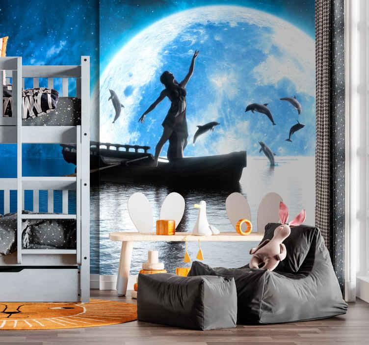 TenVinilo. Fotomurales infantiles Animales marinos y barco. Fotomural marino grande de una niña en un bote en medio del mar, con delfines saltando alegremente. Hecho de material de calidad y duradero.