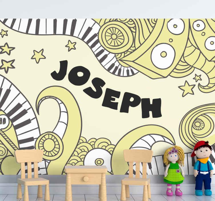 TenStickers. Prilagodljivi mural za grafitiranje glazbenih slika. Zabavno i kreativno dizajnirano zidno slikarstvo koje ilustrira glasovirski instrument i druge elemente u vrlo apstraktnoj umjetničkoj prezentaciji.