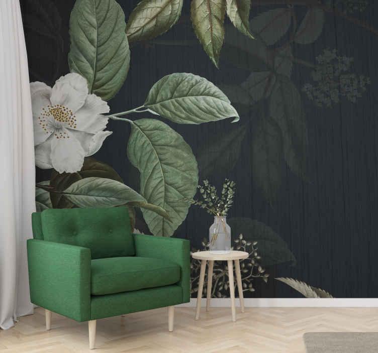 TenStickers. Zelena cvjetna pozadina mural za dnevni boravak. Uživajte u prirodi ove zelene cvjetne pozadine s ovim raskošnim ukrasnim zidnim freskom! Kupite ga odmah i poslat ćete ga na mjesto koje nam kažete!
