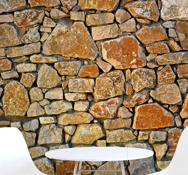 TenStickers. Kameni uzorak zidne freske kameni freske. Ovaj zapanjujući dnevni zidni zid koristi visokokvalitetne slike. Unesite jedinstveni izgled u svoj dom i naručite svoj fotofrekul odmah!