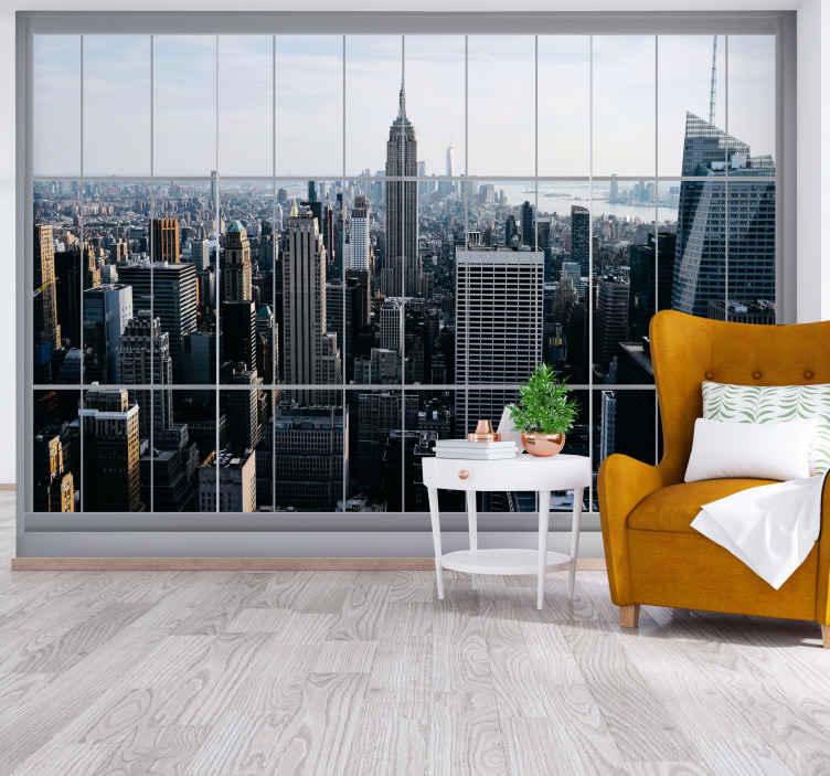 TenStickers. Prozor na new york zidne tapete new york. Prekrasan mural iz new yorka s nebrojenim svjetlima i zgradama. . Nove zidne naljepnice new york modernizirat će svaki prostor vašeg doma.
