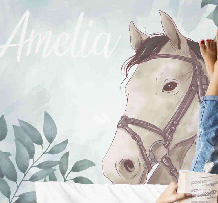 TenStickers. Bijela tapeta za zidne slike konja. Plakat za vrata ili zidna naljepnica bijelog konja u visokokvalitetnoj naljepnici, otisnutoj s izvrsnom vidljivošću. Prilagodite svoj interijer.
