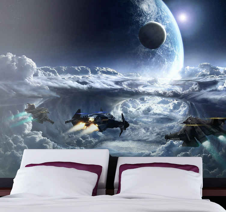 Space Ships In Action Space Wall Mural Tenstickers