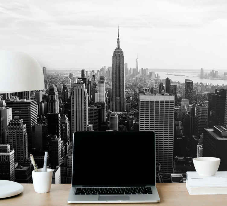Manhattan From Air Black And White Wall Mural Tenstickers