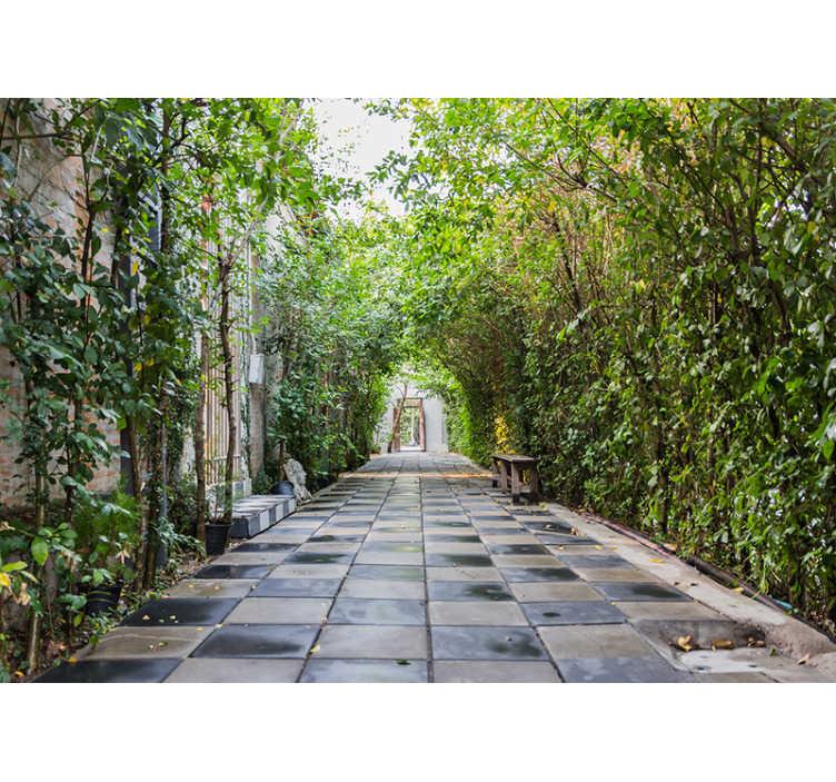 TenStickers. Zahradní 3d fototapeta. Pomocí této úžasné nástěnné malby na zdi proměňte jakoukoli místnost ve vašem domě v nádhernou podzimní říši divů. Celosvětové doručení k dispozici!