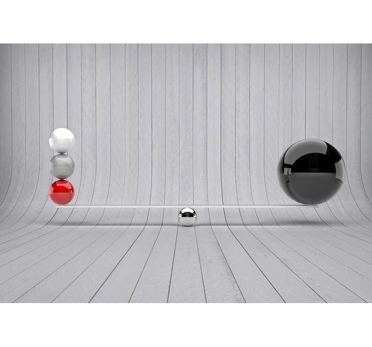 TenVinilo. Foto mural 3d equilibrios. Estupendo fotomural con fondo de madera gris y en primer plano unas tablas en equilibrios con esferas metálicas. Decora tu hogar y hazlo único.