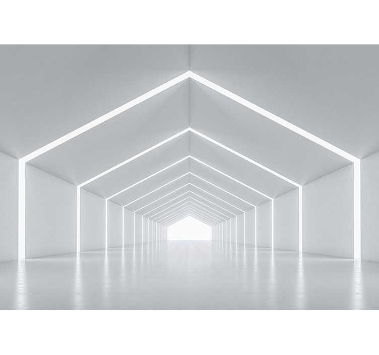 TenStickers. Weißer Tunnel 3D Wand Tapete. Dieses Design geht weiter und weiter und weiter und wer weiß, wohin es geht? Verlieren Sie sich in dem endlosen Tunnel dieser 3D-Tapete!