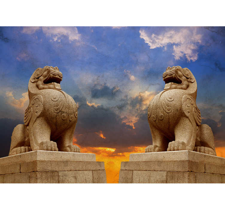 TenStickers. Stone lion wall mural. Two lions standing proud upon their rocks, decorate with this oriental wall mural. Inspired by lions across Asia, this design will liven up your walls