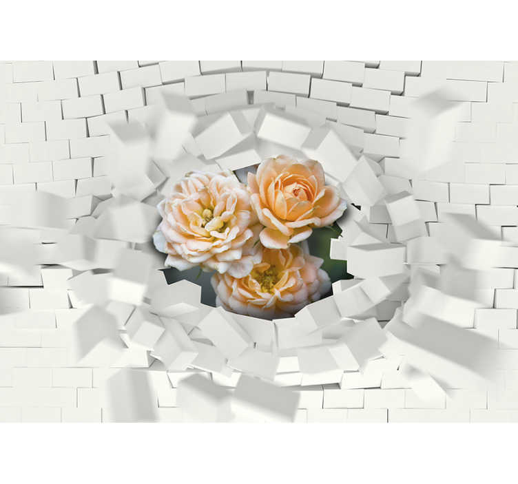 TenStickers. Mauer Blume 3D Mural Wallpaper. 3D photomural of flowers with superimposed extrusions of white squares or rectangles and flowers that stand out. Best quality.