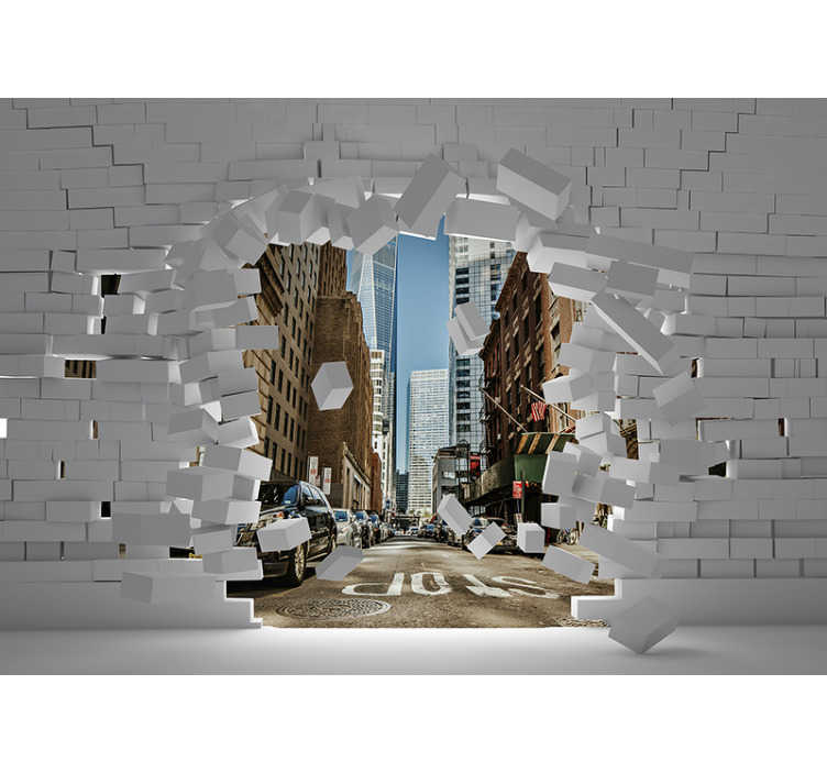 TenStickers. Behind the wall new york skyline wall mural. Great New York City photo wallpaper. One of the walls of your house or business is collapsing and behind it appears the city that never sleeps.