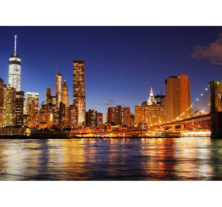 TenStickers. New York Manhattan at dawn skyline wall mural. Beautiful image in a New York City photo mural. It will look great in your home, it is of first quality, with a matte finish to avoid reflections.