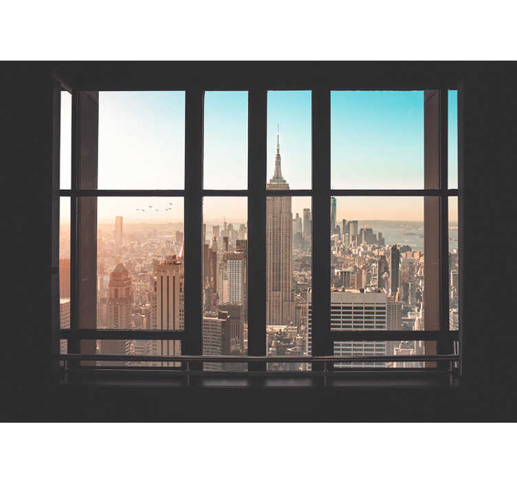 TenStickers. Sunny morning in New York wall mural. Wake up to a sunny morning in New York instead of the cloudy views over your city. This is the perfect New York wall mural if you love the big apple