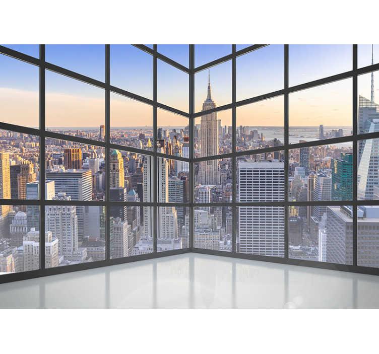 TenStickers. 3d okno new york 3d stenski zidni fres. 3d fotomura pogledov new yorka skozi obokano okno, elegantna zasnova sten vašega doma pa bo vašim sobam dala poseben pridih.