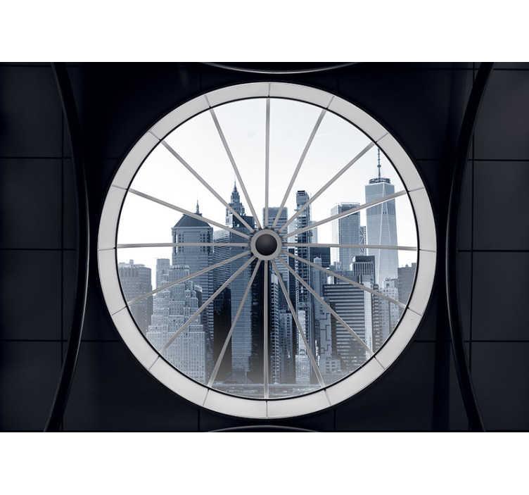 TenVinilo. Fotomural terraza con vistas a New York. Fotomural de una terraza con vistas a Nueva York Un diseño que dará profundidad a tu salón con el que podrás empapelar las paredes.