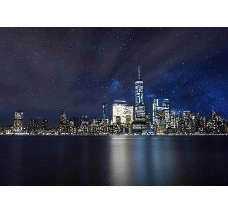 TenStickers. Starry night over New York  wall mural. Oh how I wish for more nights like this A perfectly clear, starry night over New York city This is the most stunning New York wall mural!