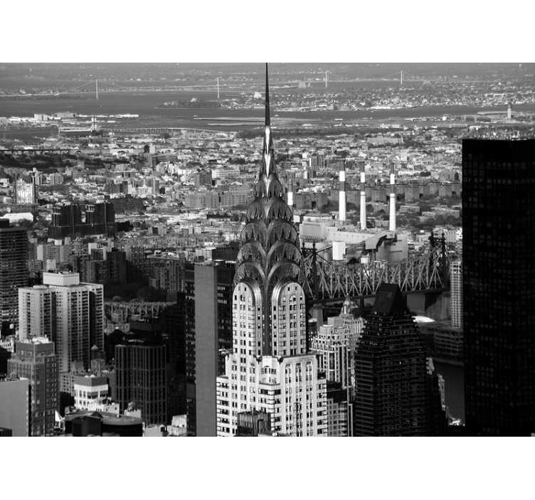 TenStickers. Murale di empire state building new york. Questo bellissimo murale fotografico di New York è disponibile in uno splendido bianco e nero. L'applicazione è un compito facile, con le istruzioni incluse.