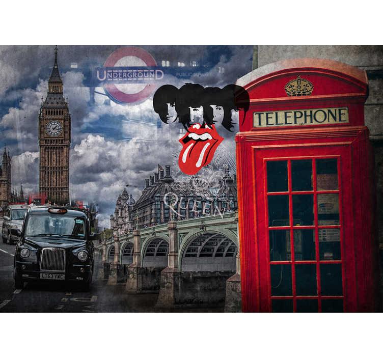 TenStickers. Collage van Londen muurschildering. Decoreer je huis met deze fantastische muurschildering in londen! Dit ontwerp is volledig van alle dingen londen! Deze muurschildering is perfect voor het toevoegen van die laatste hand