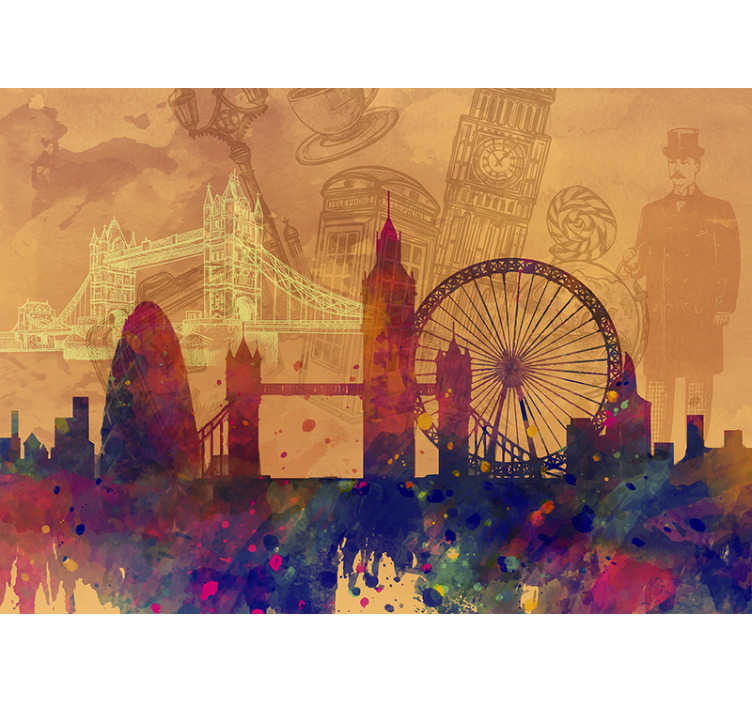 TenStickers. abstract skyline London modern wall mural wallpaper. Very colourful photo mural of London with illustrations of the main London innocents. A design in which the colour red predominates.