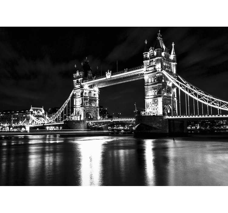TenStickers. Black and white Tower bridge City wall mural. Great photo mural of London's Tower Bridge in vintage photographic style to bring a little piece of London city into your home.