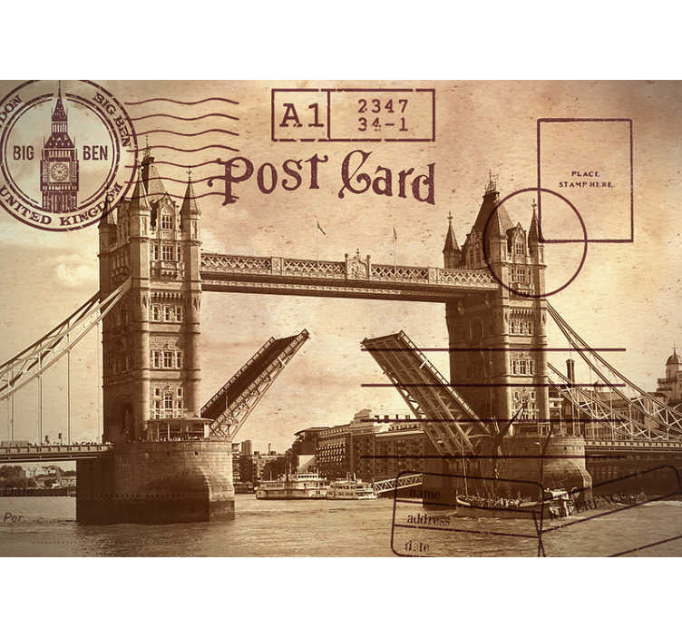 TenStickers. Tower Bridge post card City wall mural. Photo mural of the iconic London Bridge to decorate the walls of your home in a unique way. Take a little piece of this city to your living room.