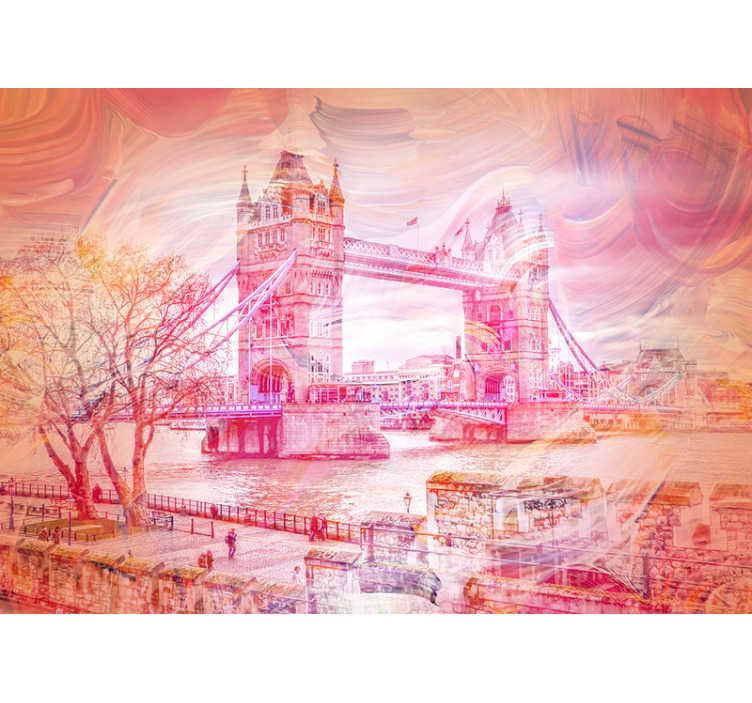 TenStickers. Nástěnná malba akvarel věž mostu města. Neuvěřitelná fotomontáž věžového mostu v londýně malovaná v akvarelu, která zdobí zdi vašeho domova nebo podnikání jiným způsobem.