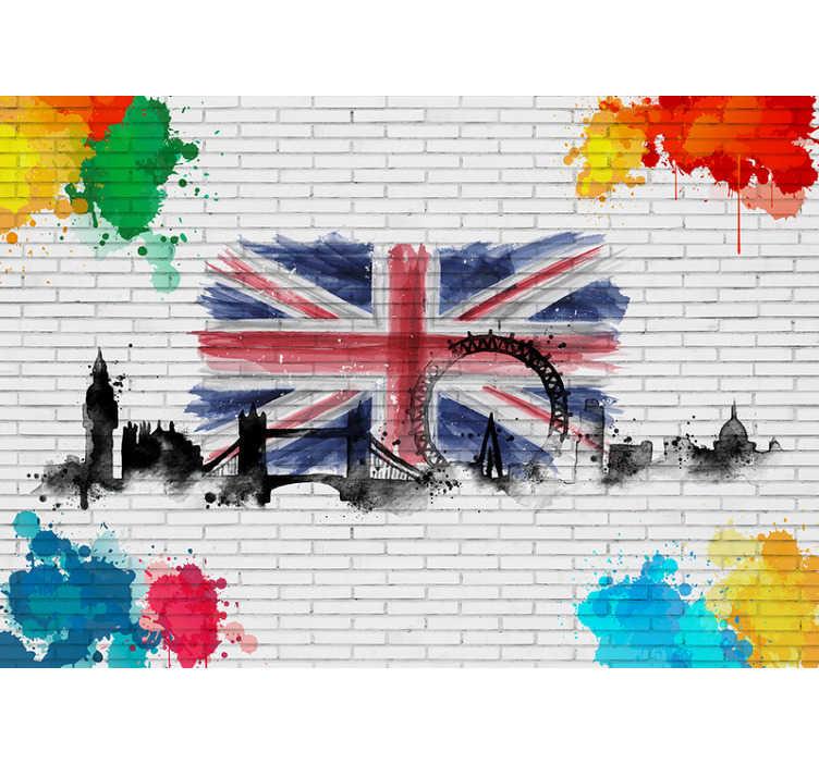 TenStickers. Kunst aan de muur abstracte stad muurschildering. Londen fotobehang met een prachtige samenstelling van de vlag van het verenigd koninkrijk een product van topkwaliteit, gemakkelijk in uw huis te plaatsen.