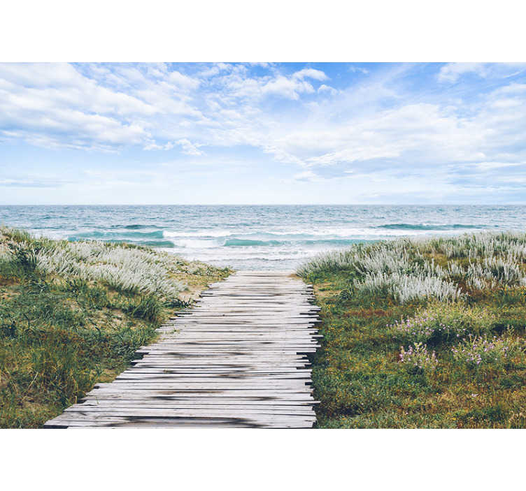 TenStickers. Holiday at the seaside sea wall mural. Beautiful and relaxing photomural of a wooden walkway to the sea An exclusive image that can now be part of the walls of your home in an exclusive way