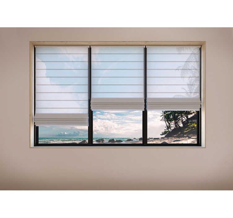 TenStickers. Fotomurais 3D À Procura do Sonho. Renove a atmosfera da sua casa e torne-a mais leve e revitalizante com este fotomural paisagistíco 3Dde três janelas com vista para uma praia!