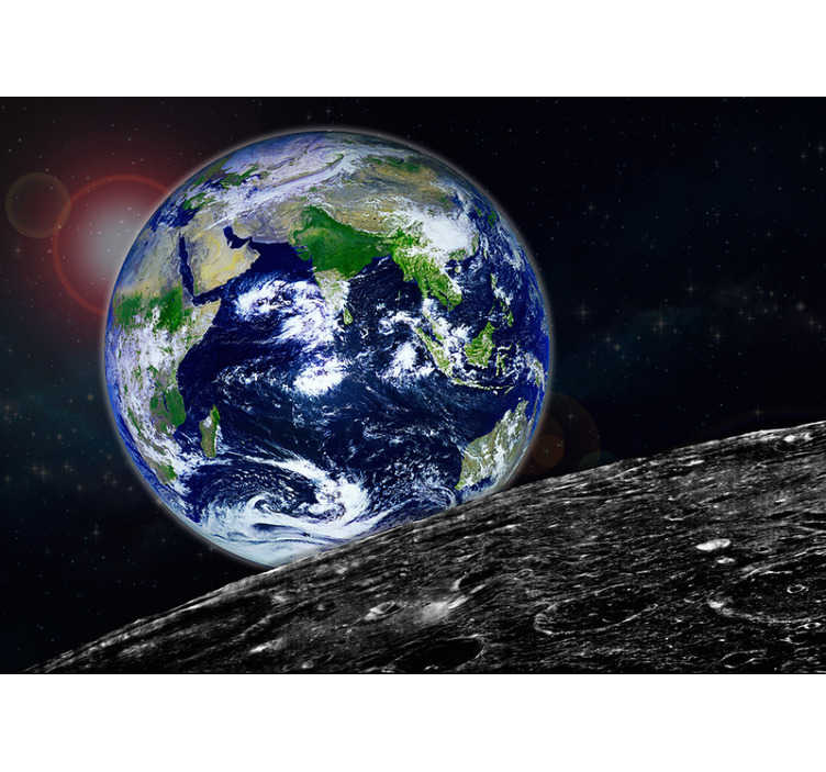 TenStickers. View of the Earth space Wall Mural. Travel to outer space with this space wall mural. Showing the Earth in all its blue and green glory. High quality earth wall murals for your walls