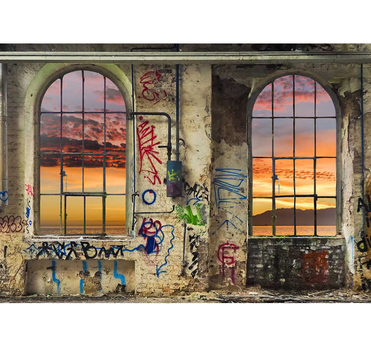 TenStickers. Fotomurais 3D Vista Deliciosa. Dá vida às paredes da tua casa com um um sunset visto através de janelas urbanas simuladas com este maravilhoso mural de parede de paisagens 3D.