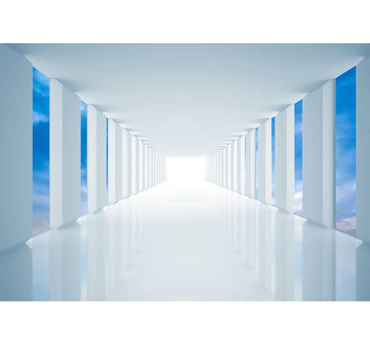 TenStickers. 하늘을 걸어 3d 벽화 벽지. 이 3d 벽 벽화로 하늘을 걸어보세요. 신비로운 장소로 이어지는 길고 흰 복도를 묘사 한 디자인! 왼쪽에는 하늘이 보입니다