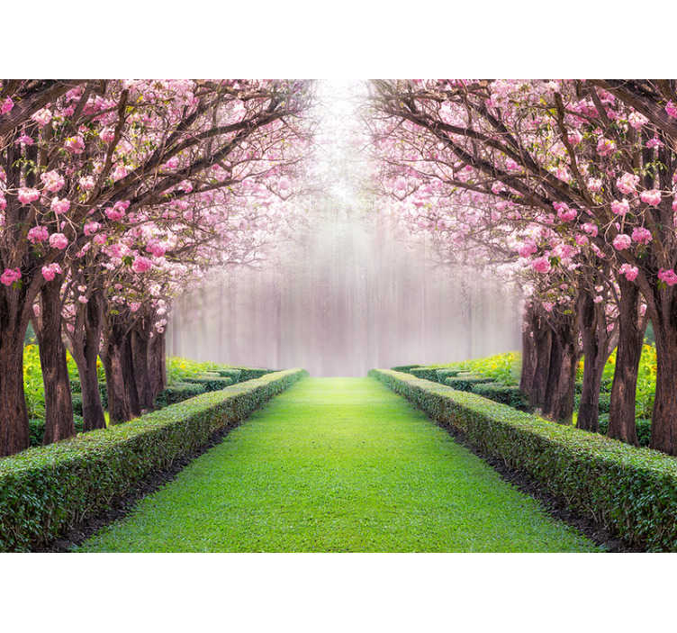 TenStickers. Pink garden tree wall mural. Get lost in your own secret garden, full of beautiful sights and fun. This tree wall mural is absolutely gorgeous, and we are sure you'll agree!