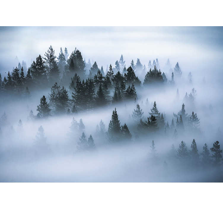 TenStickers. Morning fog forest  wall mural. A blanket of fog covers a stunning forest in the most mystical and stunning way. Decorate with this forest wall mural to add that final touch