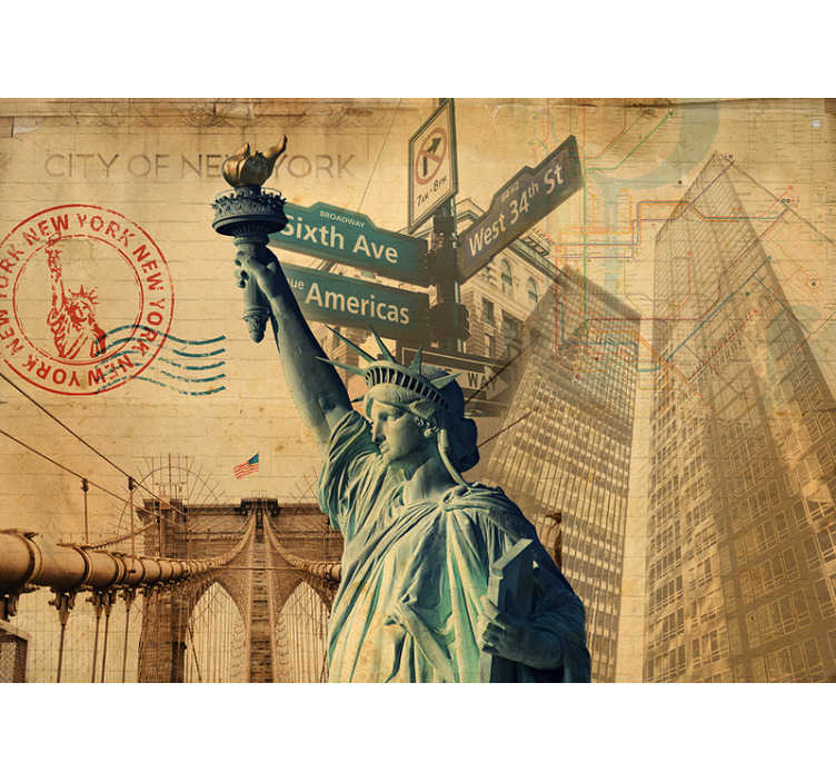 TenStickers. Sights of New York wall mural. Relax and take in all the sights of New York without leaving the comfort of your own home with this New York wall mural.