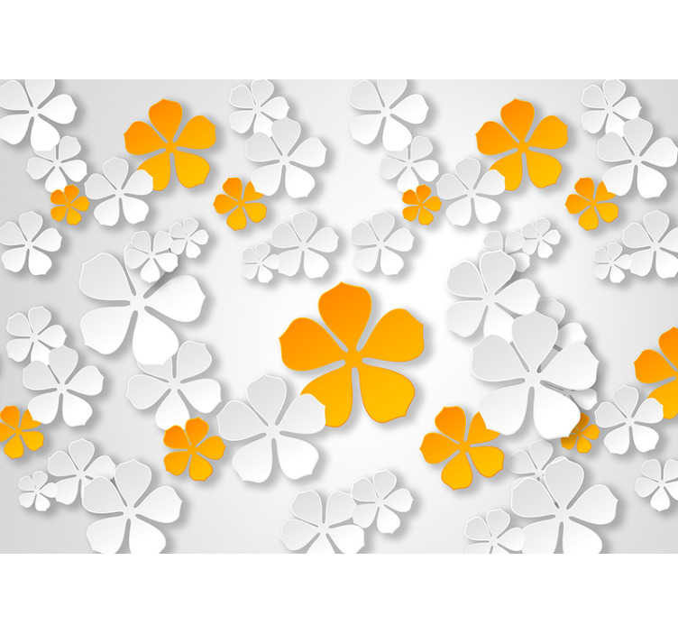 TenStickers. Oriental flowers zen wall mural. Yellow and white flowers to decorate with! This flower wall mural is the perfect addition to any home! It will help you add some colour to your walls