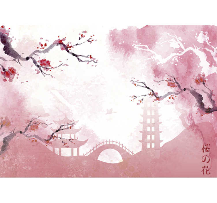 TenStickers. Japanischer Garten Zen Tapete. Mit dieser Blumen Fototapete haben Sie Ihren eigenen japanischen Garten in Ihrem Zuhause. Fügen Sie Ihrem Haus einen schönen Spritzer rosa hinzu. Jetzt bestellen!