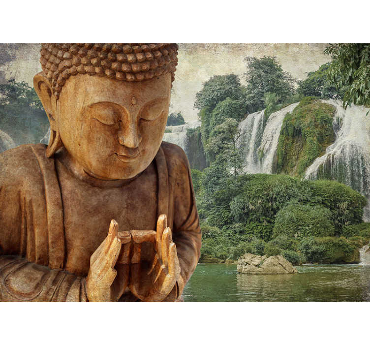 TenStickers. Buddha zen photo wallpaper. Love waterfalls and love buddhas? Why not have the best of both with this buddha wall mural? A stunning design made to instill peace inside of you