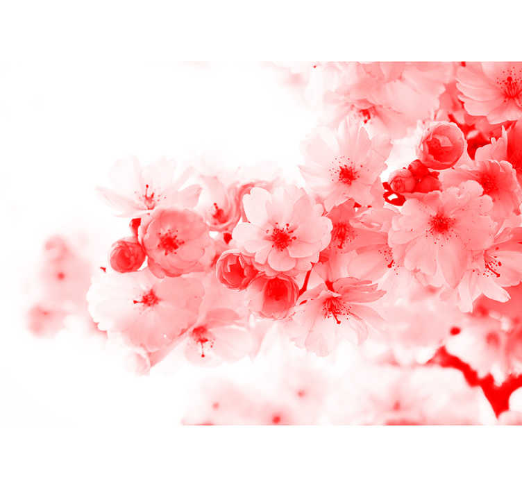 TenStickers. Abstract Flower Tree zen wallpaper. Bring a sense of the abstract while maintaining a natural feeling with this awesome red tree wall mural. Worldwide delivery available!