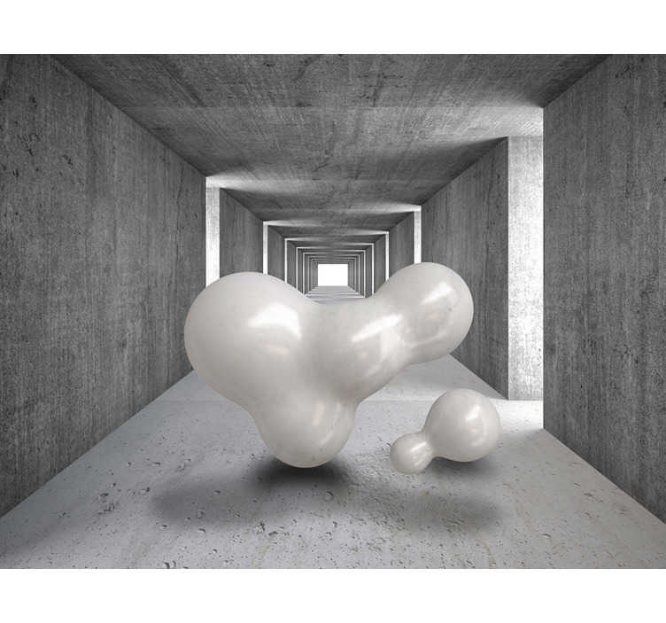 TenStickers. Balloons floating through tunnel 3D Mural Wallpaper. Depicting a large balloon like object floating through a tunnel  This 3D wall mural will create that modern look you've always wanted in your home!