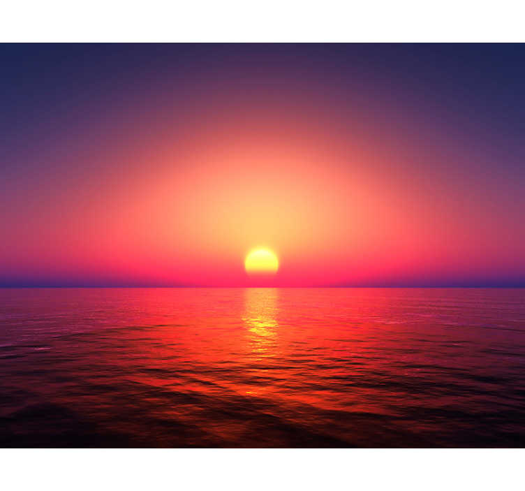 TenStickers. Sun set over the sea landscape wall mural. What could be more beautiful than this sea wall mural? With the sun setting over the sea on the horizon, this design will fit into any room seamlessly