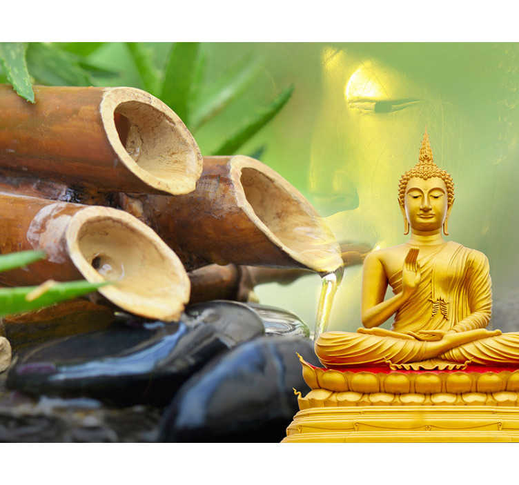 TenStickers. Golden Buddha with water feature Buddha Wall Mural. A beautiful golden Buddha meditating in front of a bamboo water feature. This Buddha wall mural is just what you've been looking for!