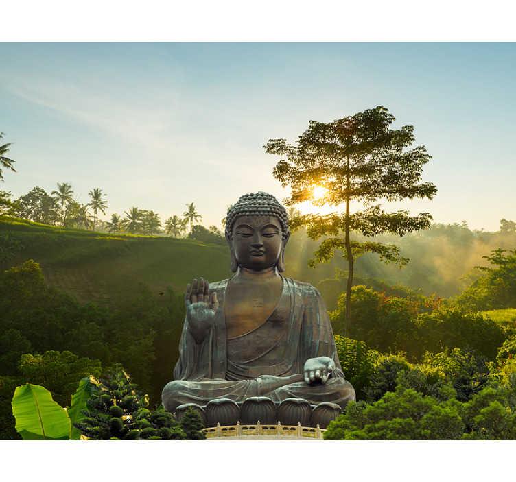 TenStickers. Boeddha mediteren in de natuur muurschildering. Wanneer je eindelijk je boeddha muurschildering hebt ontvangen en toegepast, zul je niets dan rust en geluk voelen als je naar je nieuwe muurschildering kijkt