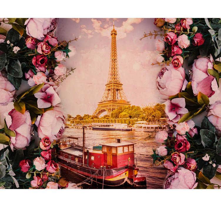 TenVinilo. Fotomural París Torre Eiffel con flores. Precioso fotomural París con tonos rosa pastel y con vistas a la Torre Eiffel rodeada por flores para decorar tu casa. Fácil de colocar.