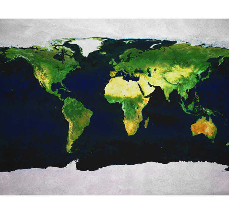 TenStickers. World map wall mural. This world map photo mural is a superb addition to your home and is a decoration that keeps giving! Printed with a high definition image!