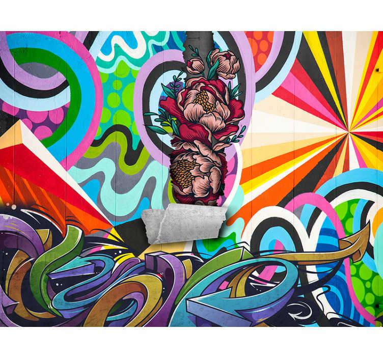 TenStickers. Graffiti urban kunst vægmaleri. Tilføj et sjovt og livligt stænk af farve til dit værelse med denne graffiti bykunstmaleri. Blues, gule, grønne, en hel masse farver